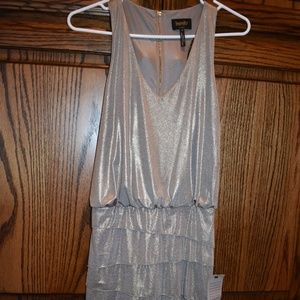 NWT Metallic Gold Silver Ruffled Cocktail Dress 4